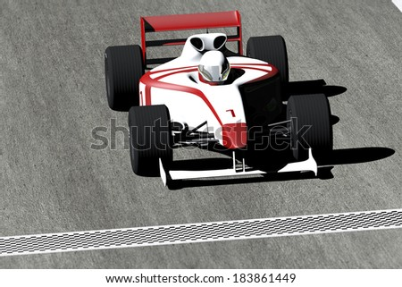 Race Car on track 3D artwork render - stock photo