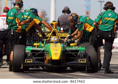 Race car pit lane. Champ Car series. - stock photo