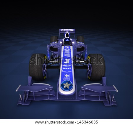 Race car with fake logos in a checkered background - stock photo
