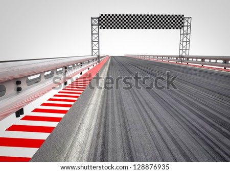 race circuit finish line perspective illustration - stock photo