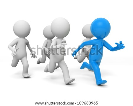 race/competition /win/success/Five people in the race - stock photo