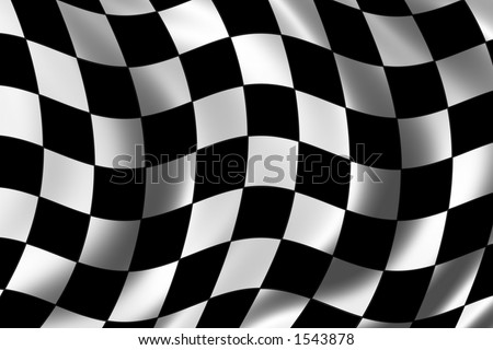Race flag waving in the wind