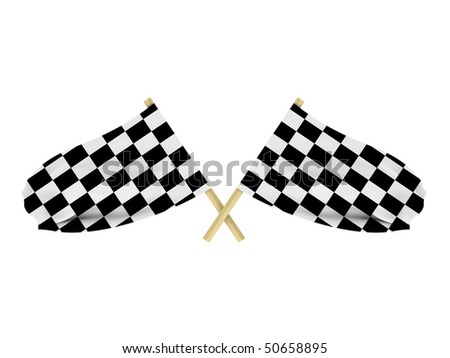 Race flags isolated on white background. High quality 3d render.