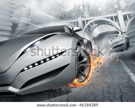 Race. My own car design. Not associated with any brand. - stock photo