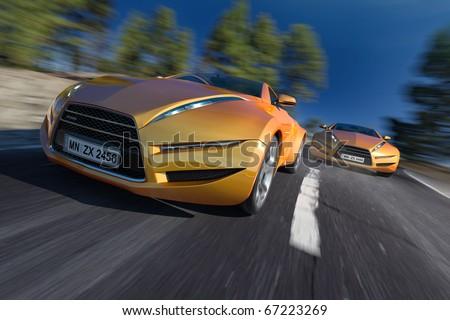 Race. Non-branded concept car. - stock photo