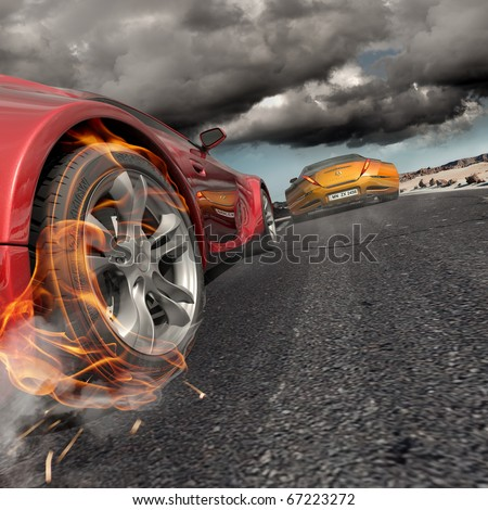 Race. Non-branded concept car. - stock photo