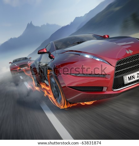 Race. Original car design. Logo is a fake. - stock photo