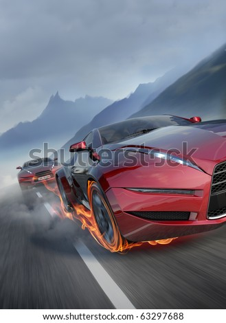 Race. Sports car burnout.  Original car design. - stock photo