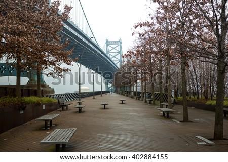 Race Street Pier, Ben Franklin Bridge, Philadelphia, PA - stock photo