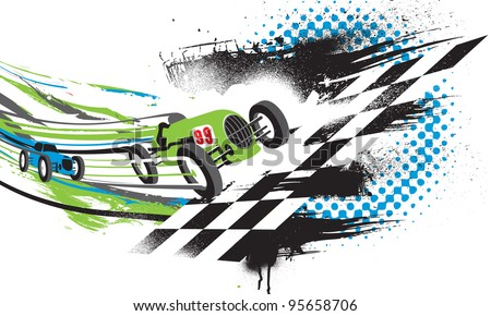 Race to the Finish Line. Abstract illustration of two vintage race cars going across the finish line. - stock photo