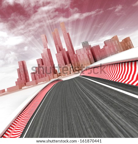 race track leading to modern skyscraper city with sky in sunset render illustration - stock photo