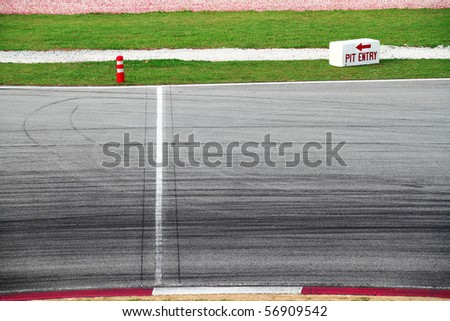 Race track pit lane entrance signboard - stock photo
