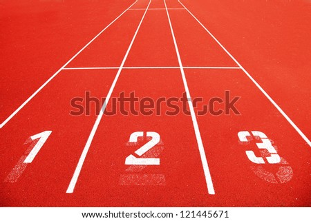 Race track with the numbers. - stock photo