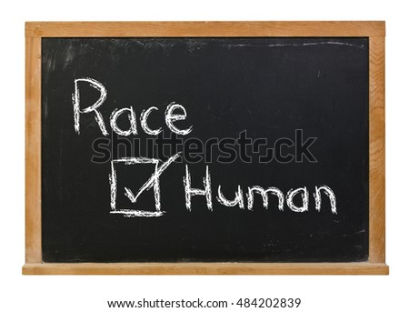 Race with human checked written in white chalk on a black chalkboard isolated on white