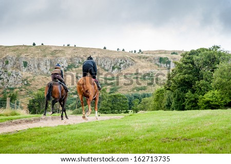 Racehorses in training uphill on an sand gallop. - stock photo