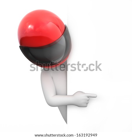 racer points a finger, image with a work path - stock photo