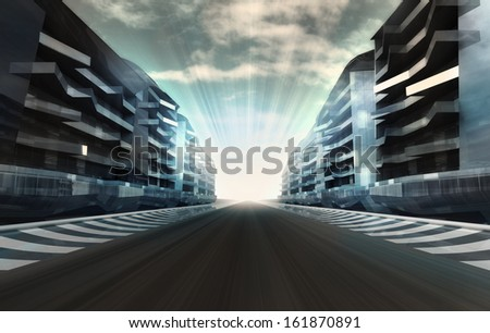 racetrack in business city in motion blur with flare wallpaper illustration - stock photo