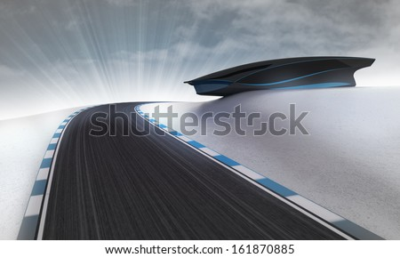 racetrack leading outdoors around futuristic building with sky illustration - stock photo