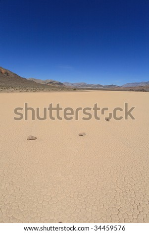 Racetrack playa in death valley - stock photo
