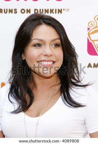 "Rachael Ray pictured at Dunkin' Donuts' first-ever ""Running of the Cups"", Herald Square, New York, New York, July 10, 2007. - stock photo"