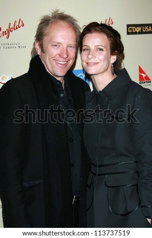 Rachel Griffiths and husband Andrew at the G'Day USA Penfolds Black Tie Icon Gala. Hyatt Regency Century Plaza, Los Angeles, CA. 01-13-07 - stock photo