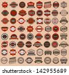 Racing badges - vintage style, big set. Vector version (eps) also available in gallery - stock vector