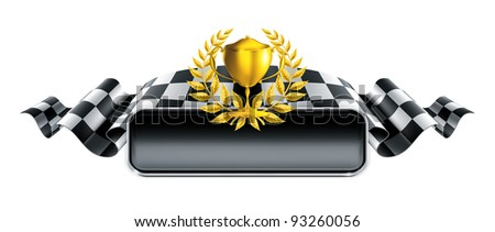 Racing banner with trophy, bitmap copy - stock photo