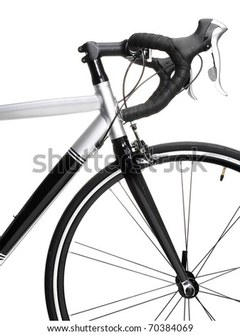 Racing bike detail. Studio photo of vehicle part, isolated on wgite background.