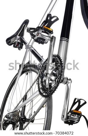 Racing bike detail. Studio photo of vehicle part, isolated on wgite background. - stock photo