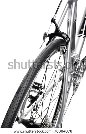 Racing bike detail. Studio photo of vehicle part, isolated on wgite background. - stock photo