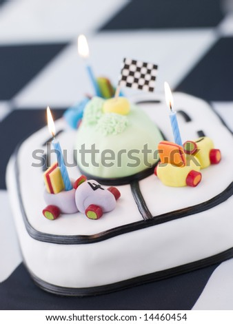 Racing Car Birthday Cake - stock photo