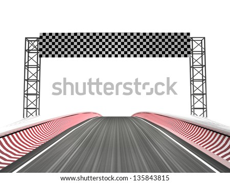 racing circuit finish line zone illustration - stock photo