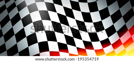 Racing flag with flames - empty banner and place for your text - stock photo