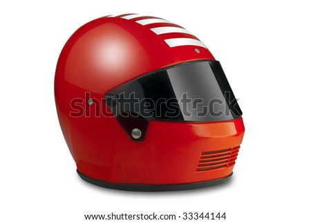 Racing helmet for car or motorcycle with clipping path - stock photo