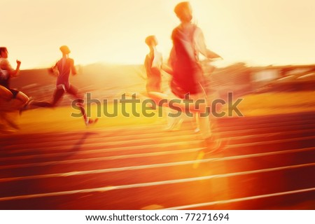Racing into the sun - stock photo