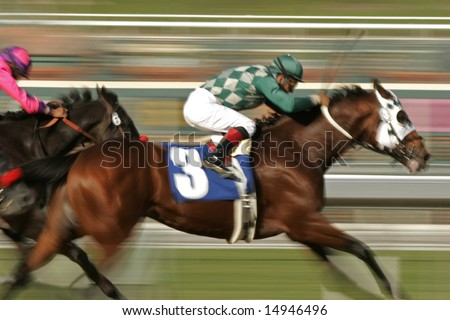 Racing Jockey and Thoroughbred Horse at Slow Shutter Speed -- Motion Blur