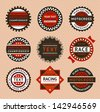 Racing labels - vintage style. Vector version (eps) also available in gallery - stock vector
