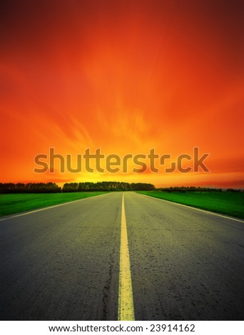 racing route close-up at night - stock photo