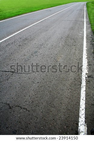 racing route close-up daytime - stock photo