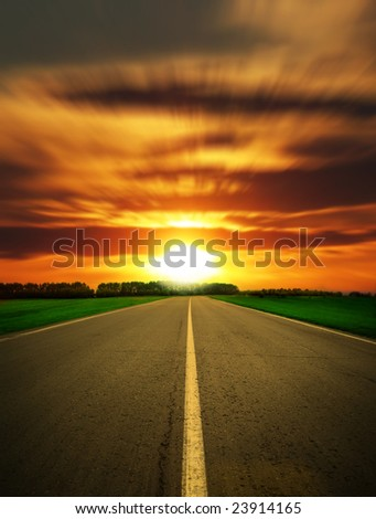 racing route close-up sundown - stock photo