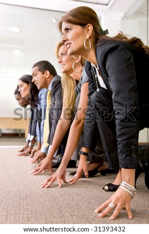 Racing team in an office - Business concepts - stock photo