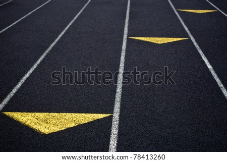 Racing Track with Yellow Marks - stock photo
