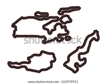Racing Tracks Maps 4 Canada Austria Monaco - stock photo