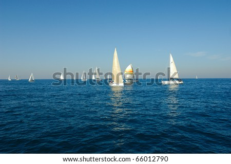 Racing yacht in a sea - stock photo
