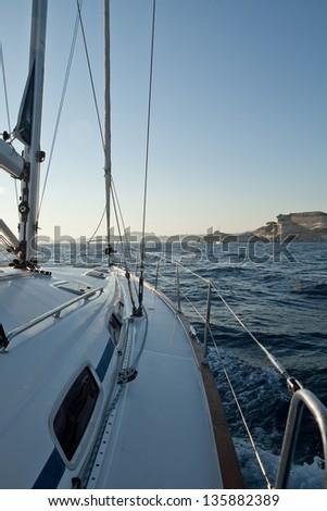 Racing yacht in the Mediterranean sea - stock photo