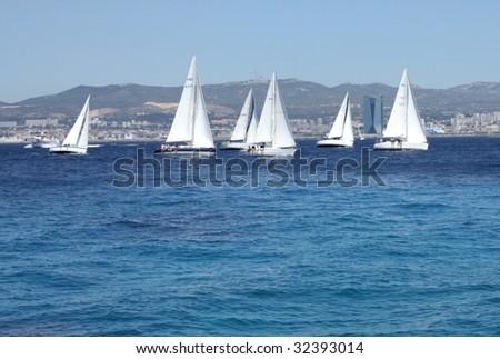Racing yachts - stock photo