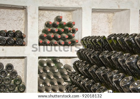 rack for classic champagne production - stock photo