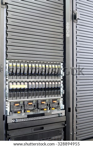 Rack mounted system storage and blade servers background