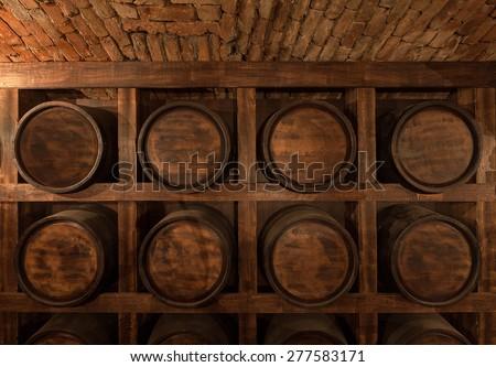 rack of barrels of alcohol - stock photo