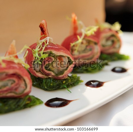 Rack of lamb on restaurant table - stock photo